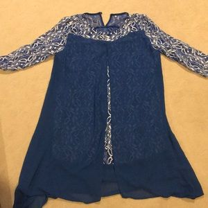 Rotita blue lace dress with a front cut
